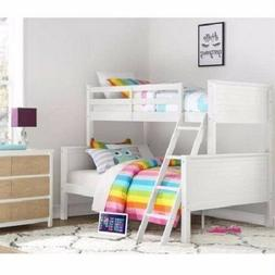 Twin over Full White Wood Bunk Bed Kids Boys Girls Bedroom F