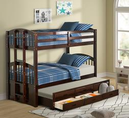Twin Over Twin Bunk Bed w/ Trundle + Stairs + Storage Drawer