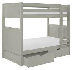 Twin over Twin Bunk Bed with Drawers in Gray Finish