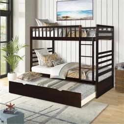 Twin Over Twin Bunk Bed with Trundle Solid Wood Bunk Bed Bed