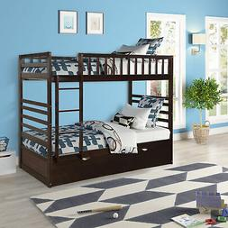Twin Over Twin Bunk Bed Wood Frame Solid Bed With Ladders An