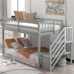 Twin over Twin Floor Bunk Beds Wood for Kids with Ladder Bed