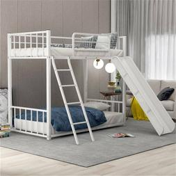 Twin Over Twin Metal Bunk Bed w/ slide, Guest Sofa Bed Twin