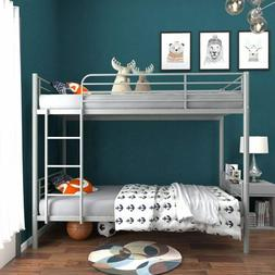 Twin Over Twin Metal Bunk Bed w/ Removable Ladder Bedroom Fu