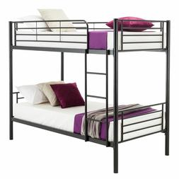 Twin over Twin Steel Bunk Beds Frame Ladder Bedroom Dorm for