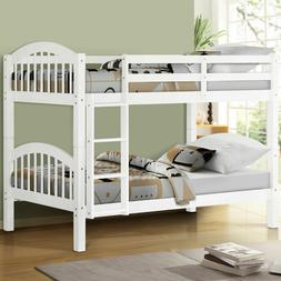 Twin over Twin Wood Bunk Beds Frame Ladder for Kids Adult Ch