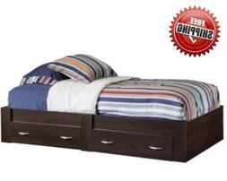 Twin Platform Wooden Bed Frame with 2 Storage Drawers Kids B
