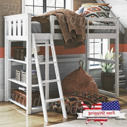 twin size bunk bed wooden loft home