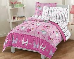 Twin Size Comforter Set 5 Piece Girls Bed in a Bag Kids Bedd