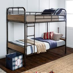Urban Industrial Twin over Twin Metal Wood Bunk Bed for s &