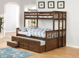 WEATHERED WALNUT TWIN OVER QUEEN STORAGE BUNK BED TRUNDLE BE