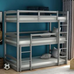 White/Gray Finish Wood Twin Over Twin Triple Bunk Beds Conve