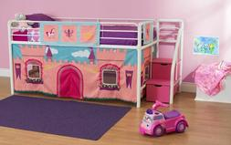 White Loft Bunk Bed For Girls Twin Tents Jr Kids Pink Beds W
