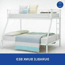 White Metal Twin over Full Bunk Beds Ladder Kids Teens Adult