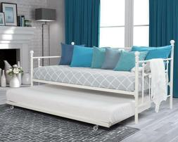 White Twin Daybed with Roll-out Trundle Metal Day Bed Sleepe