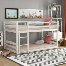 White Twin Over Twin pine wood Bunk Bed for Kids & Adult Bed