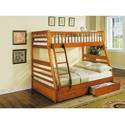 Wood Bunk Beds Twin Over Full w/ 2 Storage Drawers Kids Furn