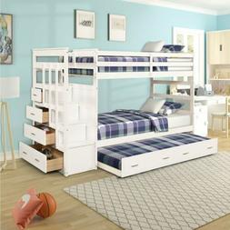 Wood Bunk Loft Bed Frame Twin over Full Size Ladder Kid Teen