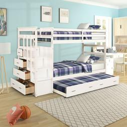 Wood Twin over Twin Bunk Bed Kids Teens Wooden with Storage