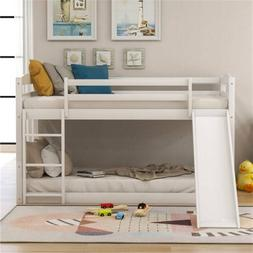 Wood Twin over Twin Low Bunk Bed Kids Wood Bunk Bed with Sli