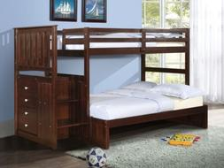 Wooden Bunk Beds with Stairs in Twin over Full