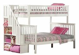 Woodland Staircase Bunkbed Twin over Full in White Finish